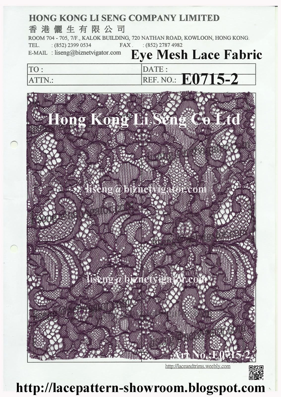 "Amazing Beauty Eye Mesh Lace Fabric Supplier - "" Hong Kong Li Seng Co Ltd """