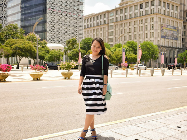 Outfit Diary : Black & stripped madness in Putrajaya