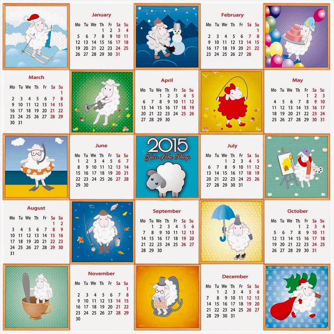 12 cabras representando las actividades de cada mes del año 2015