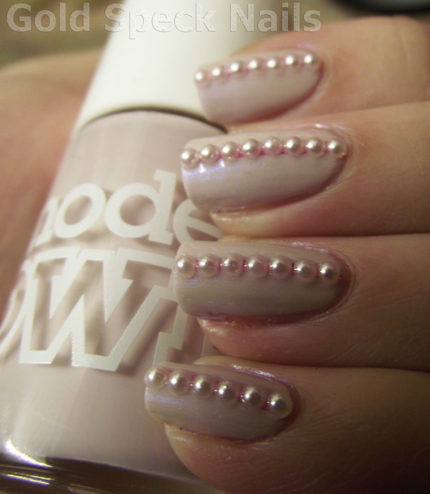 Gold Speck Nails: Models Own - Utopia, Pink Striping Tape & Pearls