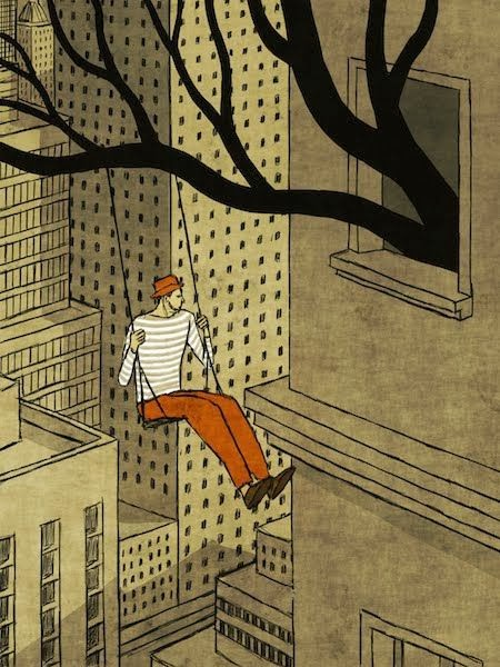 Toni Demuro illustration man swinging from a window in the city