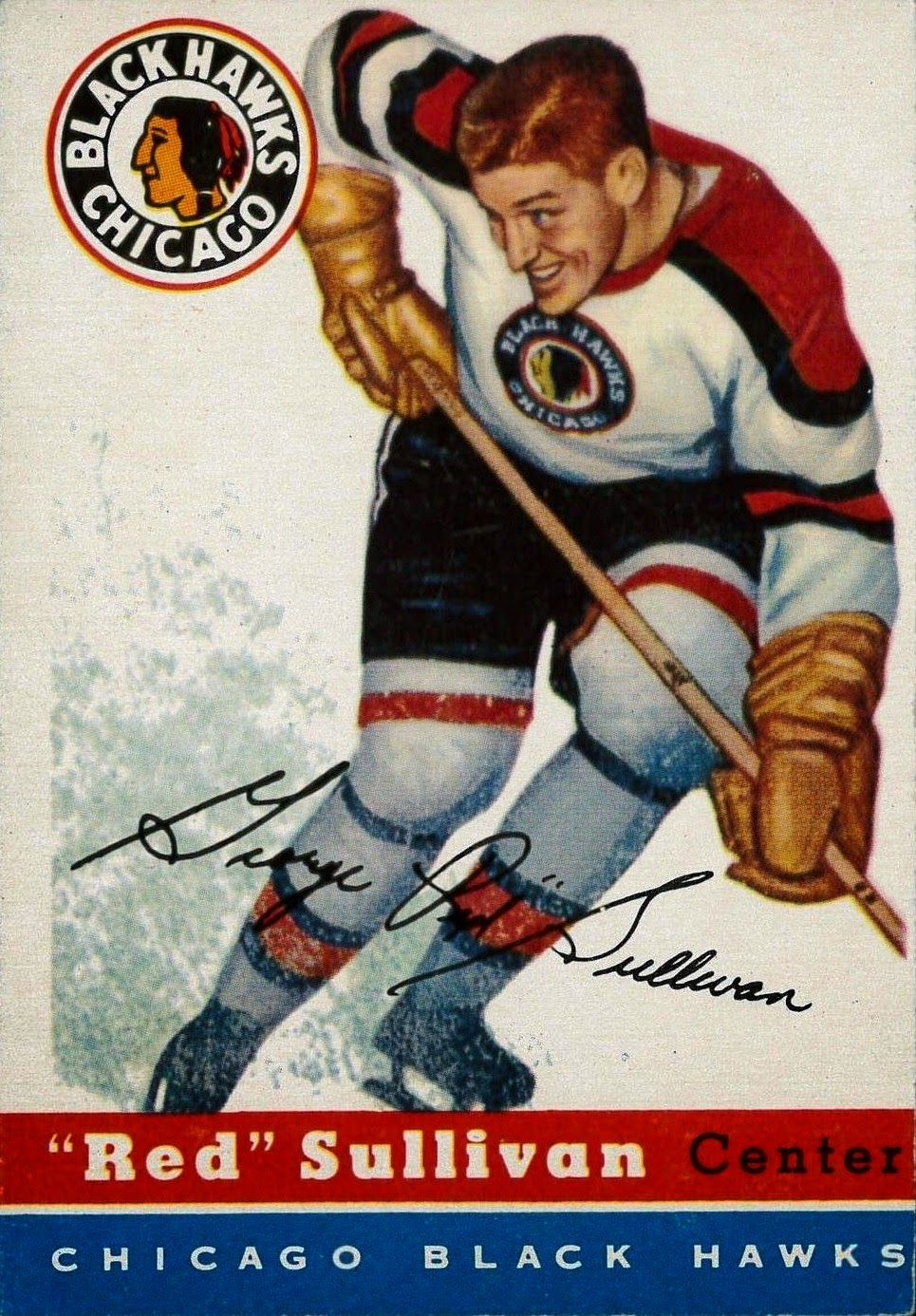 red sullivan chicago blackhawks topps hockey card