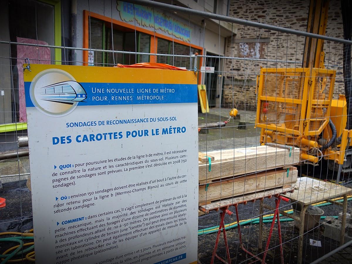"""""""Des carottes pour le chantier"""", mais pour les riverains et les commerçants ? Pas de carotte ? Vendredi 20 mars 2015 - Photo Erwan Corre"""