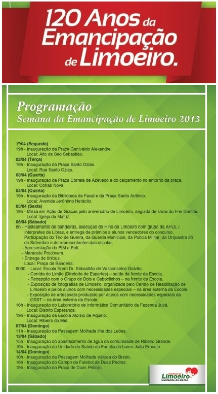 Prefeitura Municipal de Limoeiro divulga uma serie de inaugurações nos seus 120 anos de Emancipação.