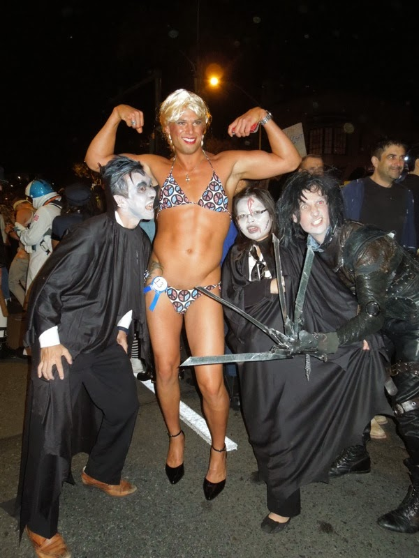 Faux female bodybuilder West Hollywood Halloween Carnaval