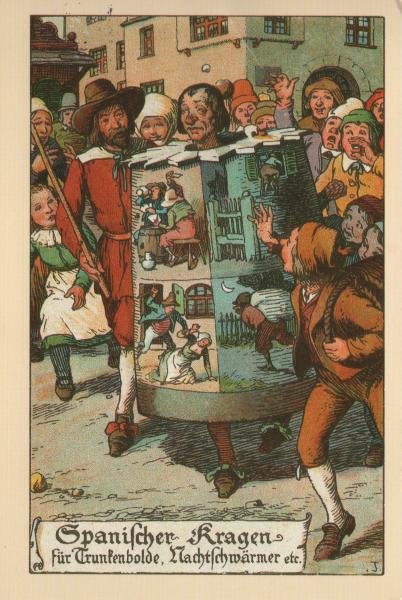 postcard showing drunkard wearing a barrel