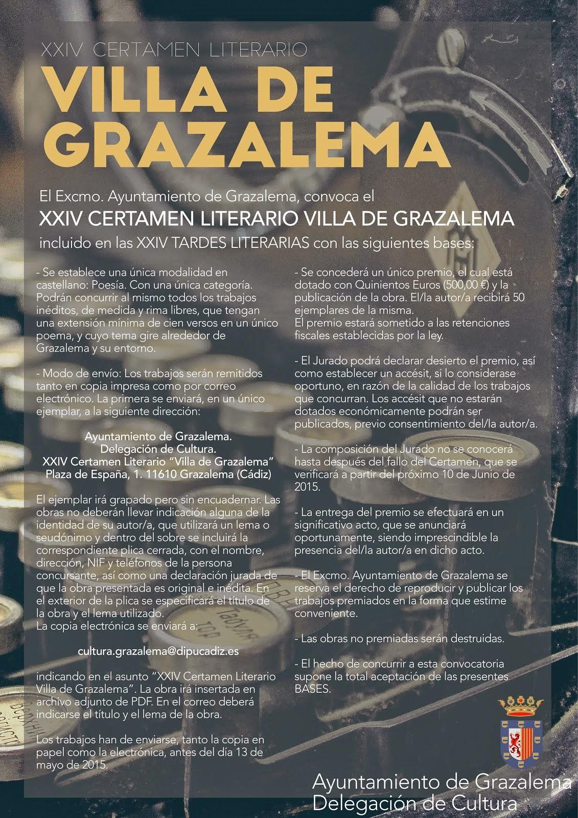 Bases del Certamen Literario Villa de Grazalema