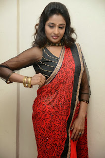 Actress Amitha Rao Pictures in Saree at Chandamama Kathalu Movie Press Meet 0047