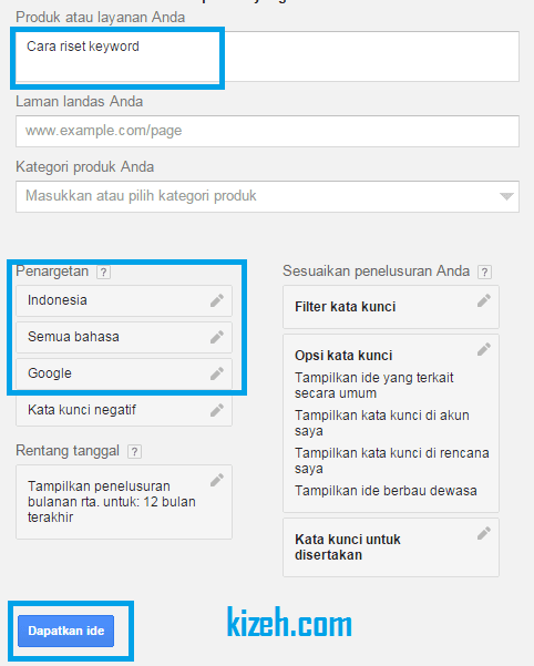 Cara memasukan data keyword di google adwords