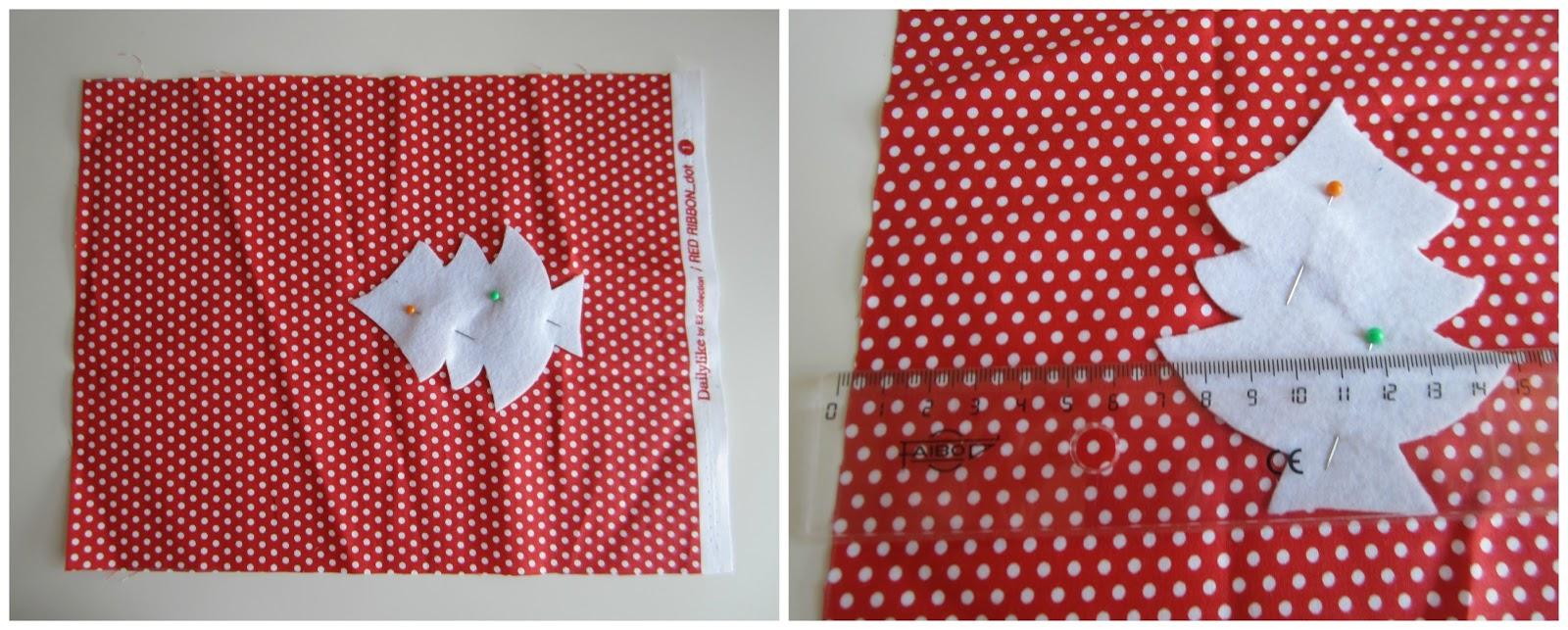 mis nancys, mis peques y yo, tutorial bolsitas de Navidad reversibles, colocar pieza sobre tela
