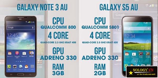 Điện thoại Samsung Galaxy Note 3 cũ và Samsung Galaxy S5 Au.
