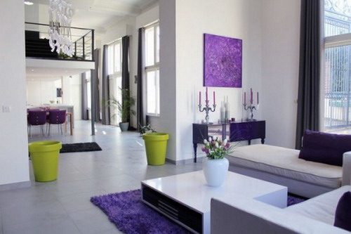 Luxurious Elegant Purple Modern Living Room Refurbishment Ideas