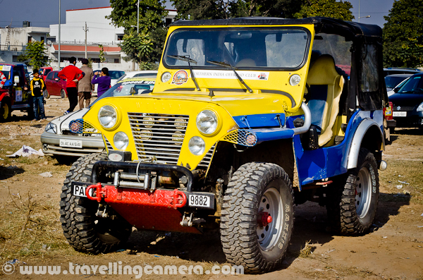 This photograph was clicked last week at Phase-7 ground of Mohali, Punjab. This was a modified jypsy, which participated in Jk Tyre OYA Autocross and Motorcross, which was three days motorsport event. This was most colorful car on the ground and tyres were also different...