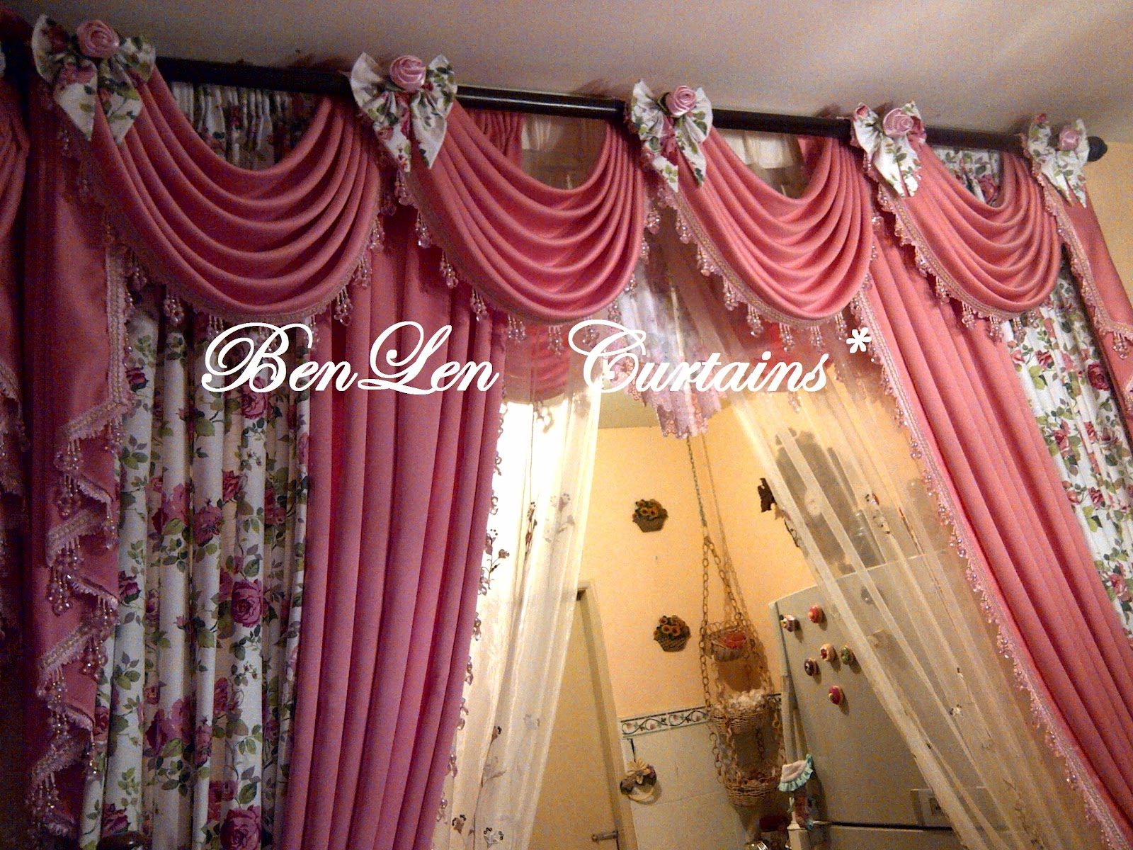 BenLen Curtains *: Scallop with ribbon roses (Lilit)