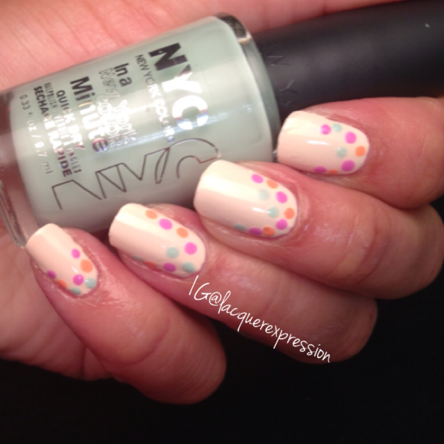 Reverse French dotticure using Robin's Egg Blue pastel polish by New York Color