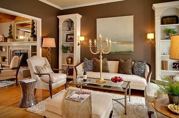 Salas en marrón y crema  Ideas de salas con estilo