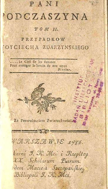 Pani Podczaszyna - strona tytułowa. Żródło: Polska Biblioteka Internetowa