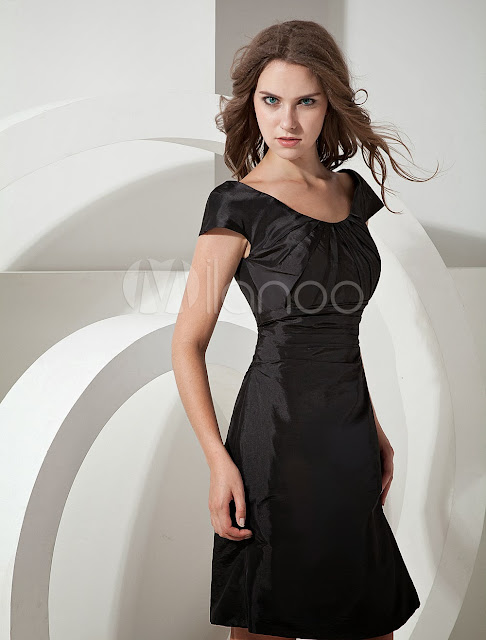 China Wholesale Clothes - Black Taffeta Knee Length Bridesmaid Dress