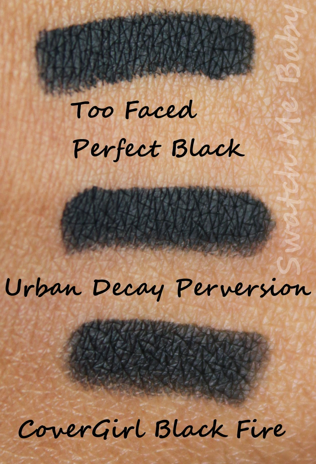 too faced perfect black eyeliner swatch dark skin
