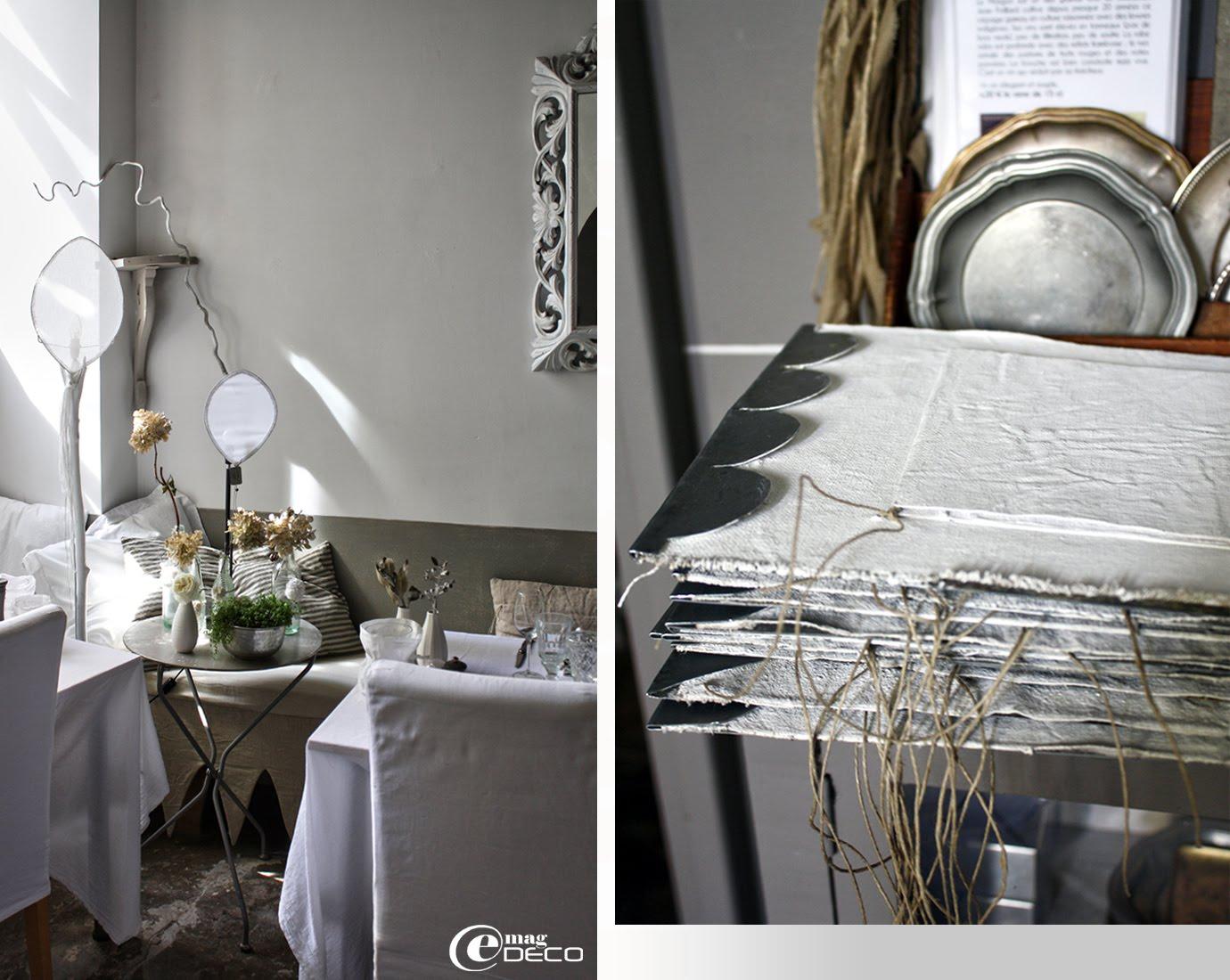 Deux lampes 'flamme' en métal et voile de coton blanc, créations Béatrice Loncle et Geneviève Cazottes