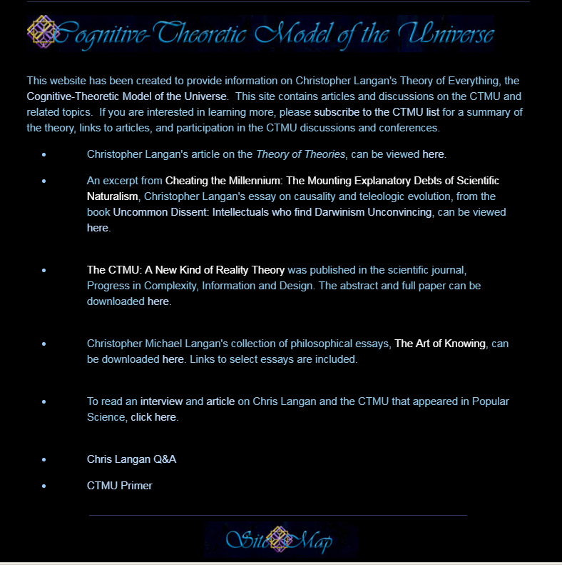Walk Through Of The Cognitive Theoretic Model Of The Universe