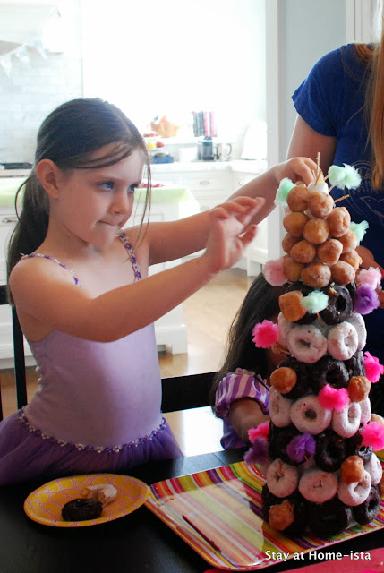 donut hole tower for a princess birthday party