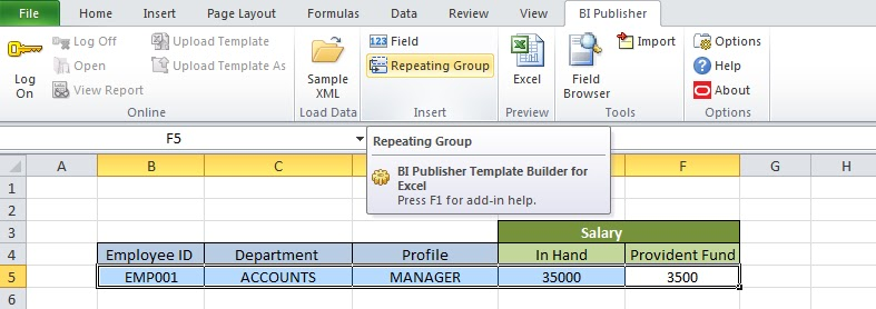 Oracle Applications Technical Creating Excel Template For Oracle