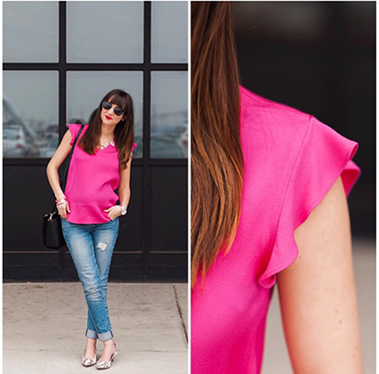 kate spade flutter top, spring style, pink sleeves top, kate spade blogger, style blogger, nashville blogger
