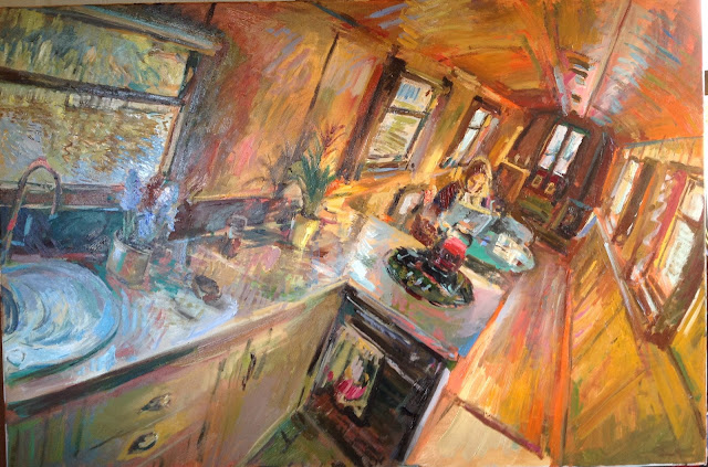 Year Of The Boat Oil Painting 57 Narrowboat Interior