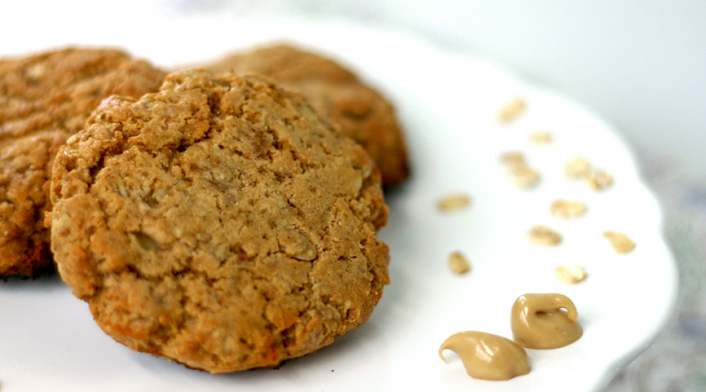 Healthy Peanut Butter Oatmeal Cookies with a High Protein Peanut Butter Frosting