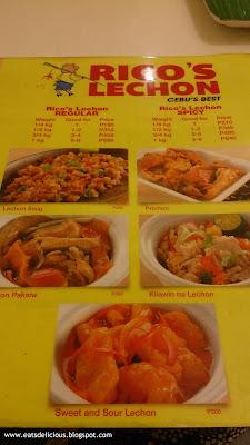 rico's lechon cebu near ayala center menu