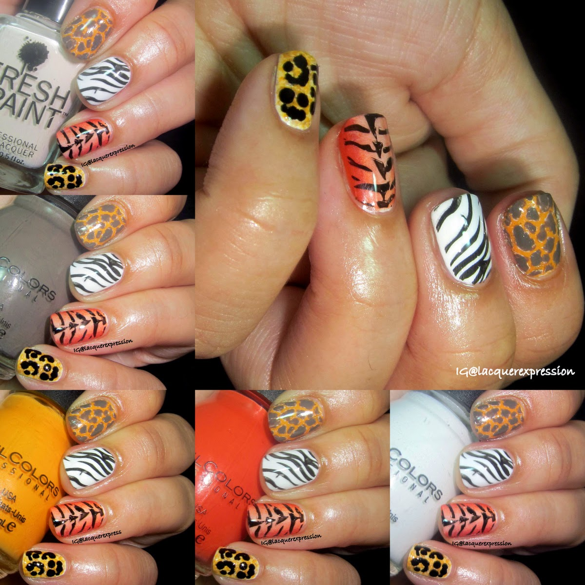 multiple animal print nail art