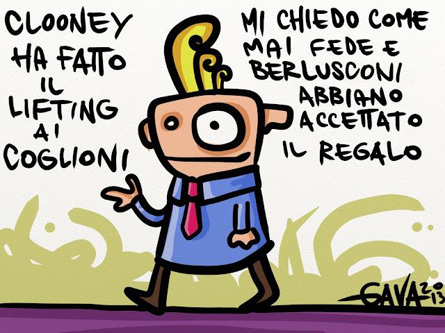 lifting clooney fede berlusconi palle coglioni regalo gava gavavenezia satira vignette