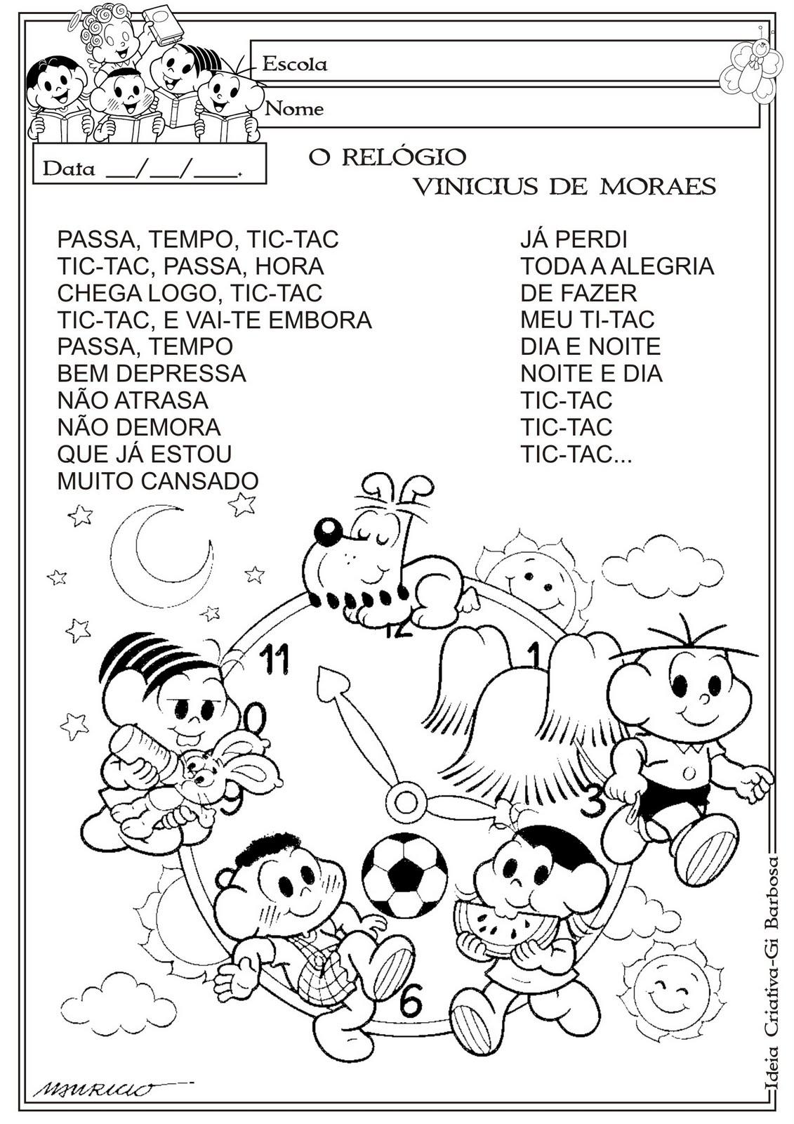 Desenhos Preto e Branco Textos infantis Colorir