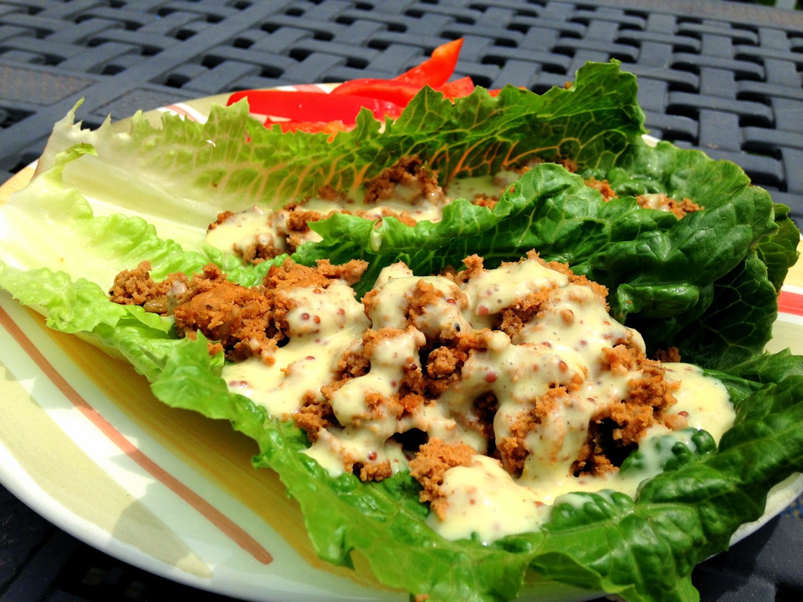 Cajun Turkey Lettuce Wraps from Hungry Gator Gal (grain-free, low-carb, drizzled with Bolthouse Farms Honey Mustard Yogurt Dressing)