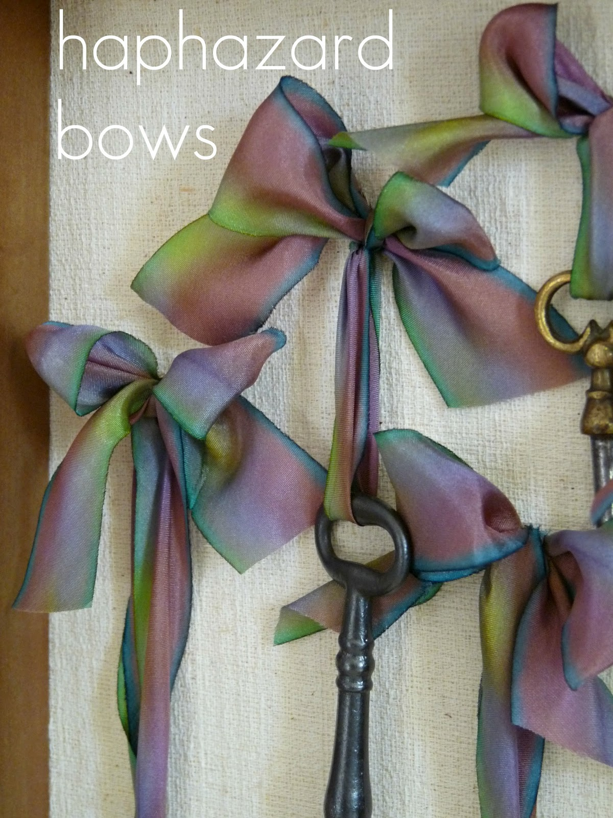 Use bows to display and hang vintage objects