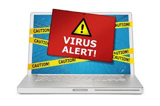 Ilustrasi komputer terkena virus