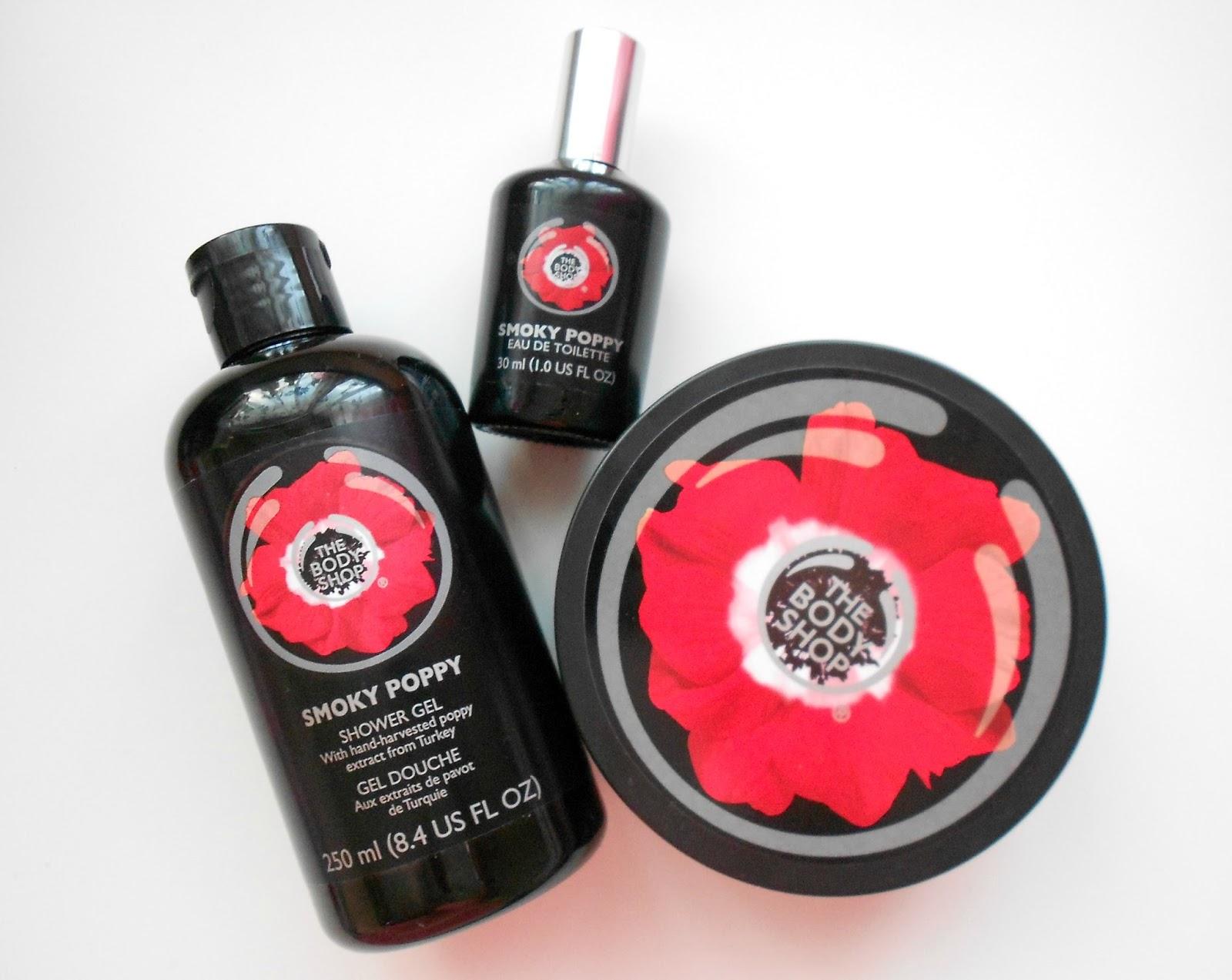 smoky poppy body shop showergel butter perfume review