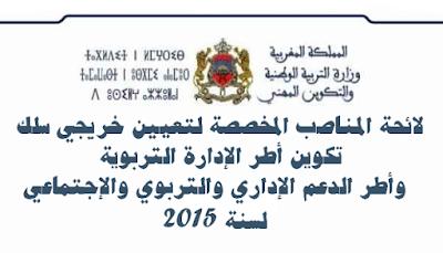 لائحة المناصب المخصصة لتعيين خريجي سلك تكوين أطر الإدارة التربوية وأطر الدعم الإداري والتربوي والإجتماعي لسنة 2015