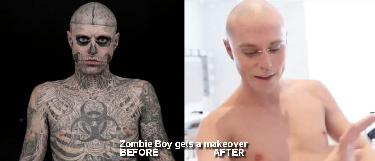 Zombie boy behind the mask propaganda universitaria for Dermablend tattoo cover up