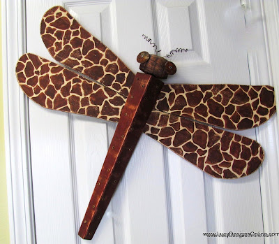hand painted giraffe design dragonfly