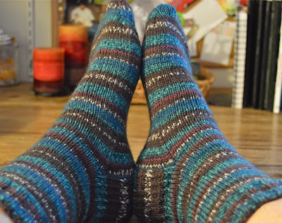 Regia North Pole Color hand knit socks