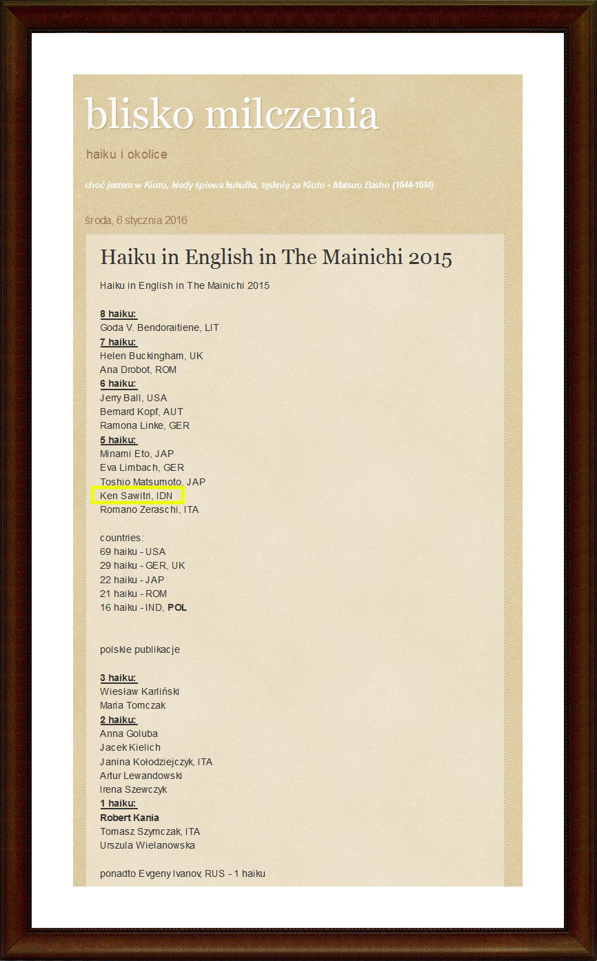 "2015 : Five Haiku Published in ""The Mainichi"""