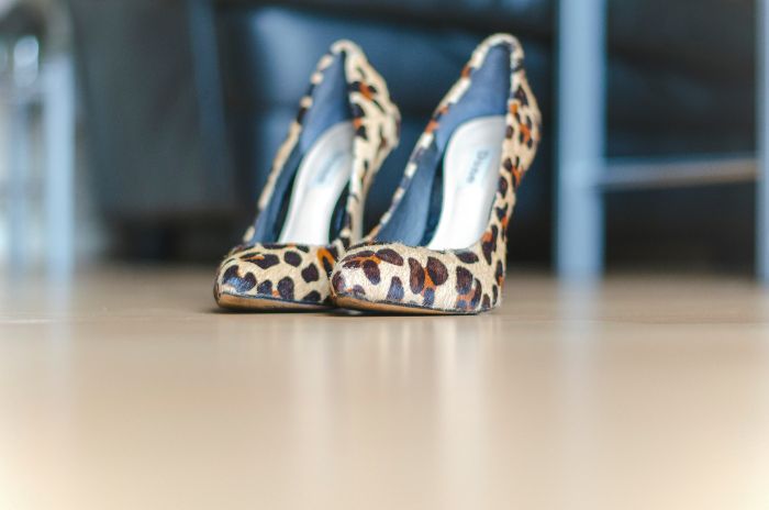Dune pony hair leopard print heels