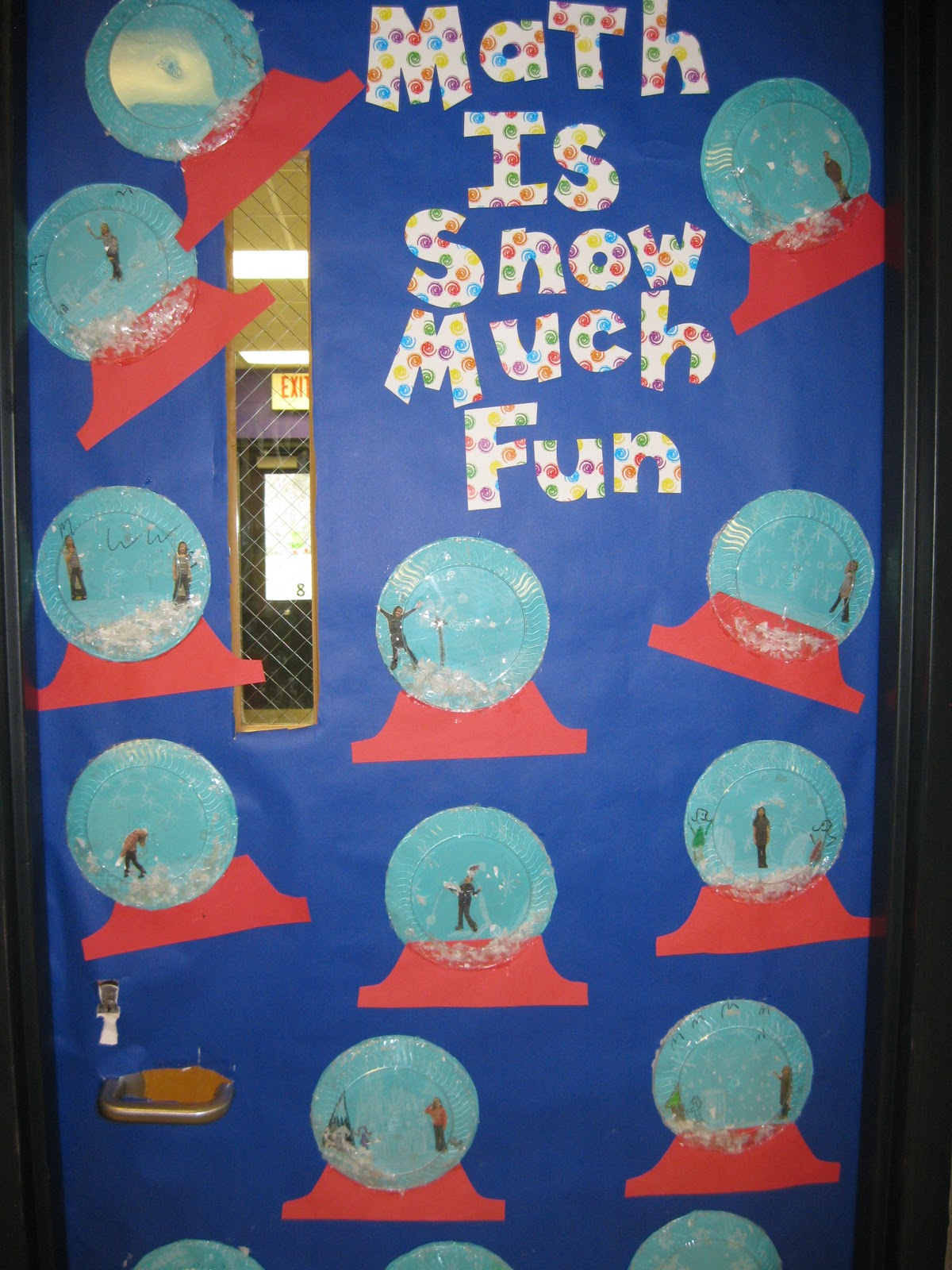 Math Classroom Door Decoration Ideas ~ Snow globes made with clear and turquoise plates