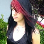 Black Hair with Red Highlights Hairstyles