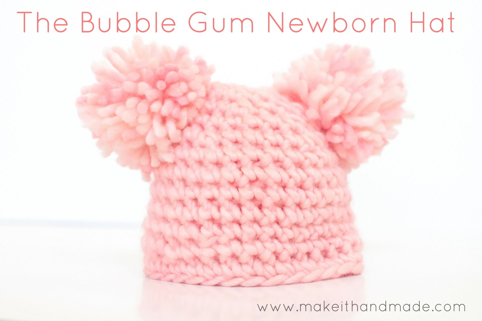 68a9430fe01 Crochet a newborn hat in just 12 rows! Free pattern and tutorial for the  Bubble