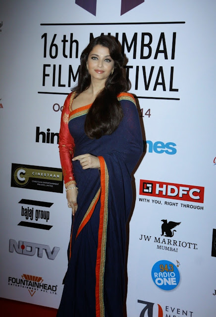 Aishya Rai Bachhan Stunning in Saree with Deepika Padukone and others at 16th Mumbai Film Festival 2014