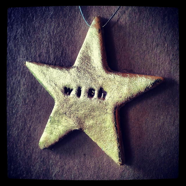 wishing star, gilded clay star decoration