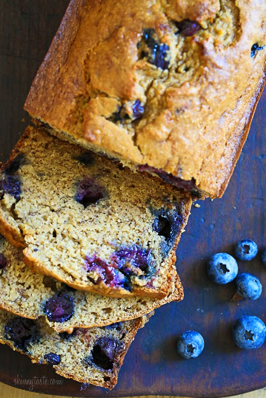 Blueberry Banana Bread – super moist and low in fat!